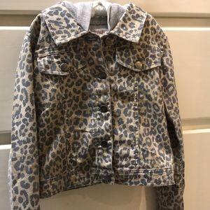 Hooded Cheetah Denim Jacket